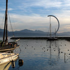Picture - Sunset at Ouchy harbor at Lausanne.