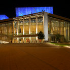 Picture - The Palace of Art at night in Budapest.