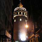 Picture - The Galata Tower at night in Istanbul.