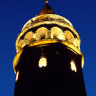 Picture - Galata Tower lit up at night in Istanbul.