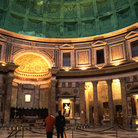 Picture - Interior of the Pantheon in Rome, sunlight pours through an opening in the roof.