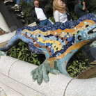 Picture - Colorful and amusing sculpture by Gaudi in Parc Güell, Barcelona.