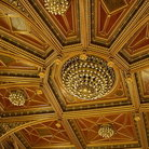 Picture - Ornate ceiling of the parliament building in Budapest.