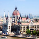 Picture - View of the Hungarian Parliament along the river in Budapest.