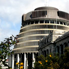 Picture - Parliament Beehive building in Wellington.