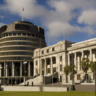 Picture - The Parliament and beehive office building in Wellington.