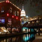 Picture - Night time at the San Antonio River Walk.
