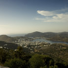 Picture - View over the Island of Patmos and the harbor of Skala.