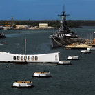 Picture - Battleship Missouri at the pier with Arizona Memorial in the foreground, Pearl Harbor, HI.