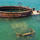 Picture - Remains of the USS Arizona in Pearl Harbor, Hawaii.