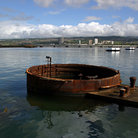 Picture - Sunken battleship USS Arizona at Pearl Harbor below the water's surface.