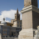 Picture - Statues and historic buildings in the Piazza del Popolo in Rome.