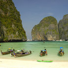 Picture - Boats on Maya beach, Koh Phi Phi Lay.