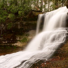 Picture - Water roaring over Laughing Whitefish Falls at Picture Rock National Lakeshore.