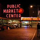 Picture - Seattle's Public Market Center at night.