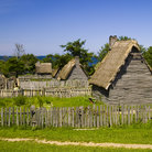 Picture - Old structures at the Plimoth Plantation in Plymouth