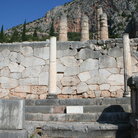 Picture - Polygonal wall in Delphi from 6th century BC with 800 acts granting slaves freedom inscribed on one wall retains terrace on which Temple of Apollo sits.