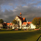 Picture - The Bath House, now the Museum of Art and History in Rotorua, has a lawn which serves as the bowling green.