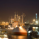 Picture - Night view of the Hamburg harbor.