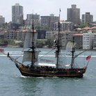 Picture - The Bounty sailing into Sydney Harbour.