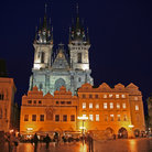 Picture - Night view of Our Lady of Tyn church in Prague.