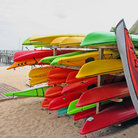 Picture - Kayaks on the beach in Provincetown.