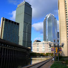 Picture - The Prudential Tower and surrounding buildings in Boston, Massachusetts.