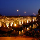 Picture - A night view of the Roman Bridge in Merida.