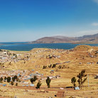 Picture - View over Puno to Lake Titicaca.