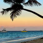 Picture - Boats off shore in the sunset at Punta Cana.