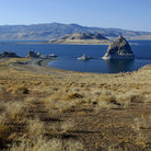Picture - Stone pyramid on Pyramid Lake.