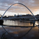 Picture - Sunset over Newcastle Quayside and River Tyne.