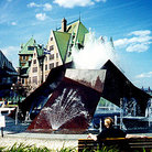 Picture - Sculpture & fountain in front of gare-du-palais, Quebec City.