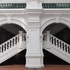 Picture - Stairs at the famous Raffles Hotel in Singapore.