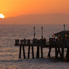 Picture - Fishermen fishing  as the sun sets over the Redondo Beach Pier.