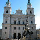 Picture - Cathedral (Dom) and fountain in the Residenzplatz in Salzburg.