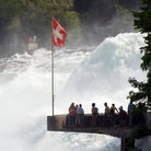 Picture - Visitors at an overlook at Rhine Falls.