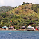 Picture - Buildings along the coast of Roatan.