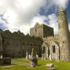 Picture - Round Tower and Irish crosses at Rock of Cashel.