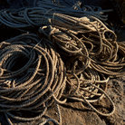 Picture - Fisherman's rope coiled up in Rockport, Massachusetts.
