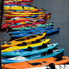 Picture - Colorful kayaks in Harbor of Rockport, MA.