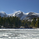 Picture - Ice covered Sprague Lake in Rocky Mountain National Park.
