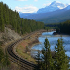 Picture - Rocky Mountain Railroad running through Banff National Park.