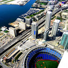 Picture - Aerial view of the Skydome / Rogers Center, with it's retractable dome open in Toronto.