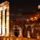 Picture - Ruins of Roman Forum at night.