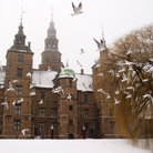 Picture - The Rosenborg Castle in Copenhagen with birds in foreground.