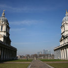 Picture - Walkway through the Royal Naval College in Greenwich and the Docklands skyline.