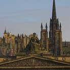 Picture - View of Edinburgh with the Royal Scottish Academy in front.
