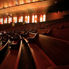 Picture - Wooden Pews in the Ryman Auditorium, Nashville, Tennessee.