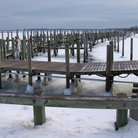 Picture - Docks surrounded by ice at Sag Harbor.